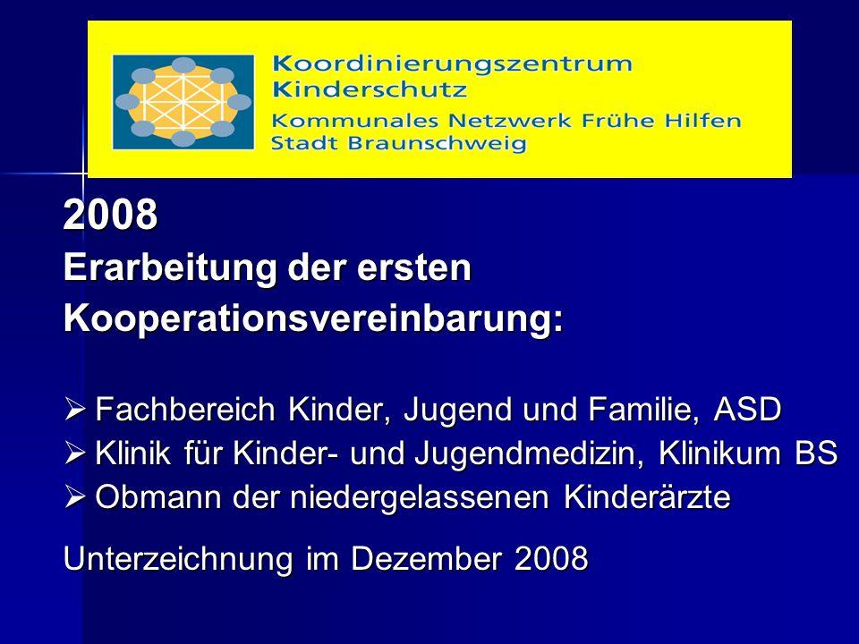 2008 Erarbeitung der ersten Kooperationsvereinbarung:  Fachbereich Kinder, Jugend und Familie, ASD  Klinik für Kinder- und Jugendmedizin, Klinikum BS  Obmann der niedergelassenen Kinderärzte Unterzeichnung im Dezember 2008