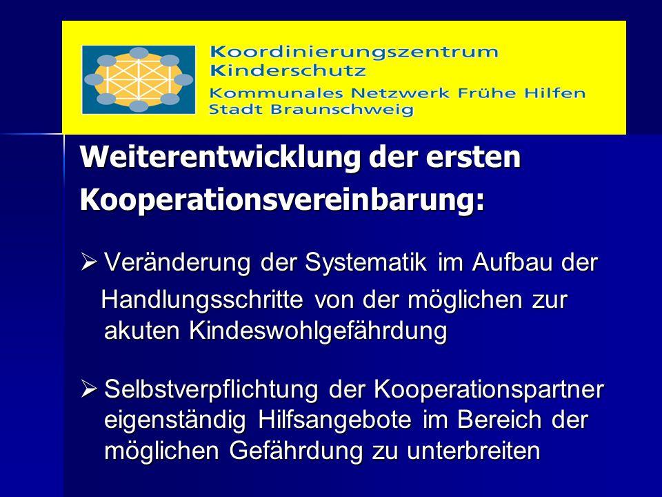Weiterentwicklung der ersten Kooperationsvereinbarung:  Veränderung der Systematik im Aufbau der Handlungsschritte von der möglichen zur akuten Kinde