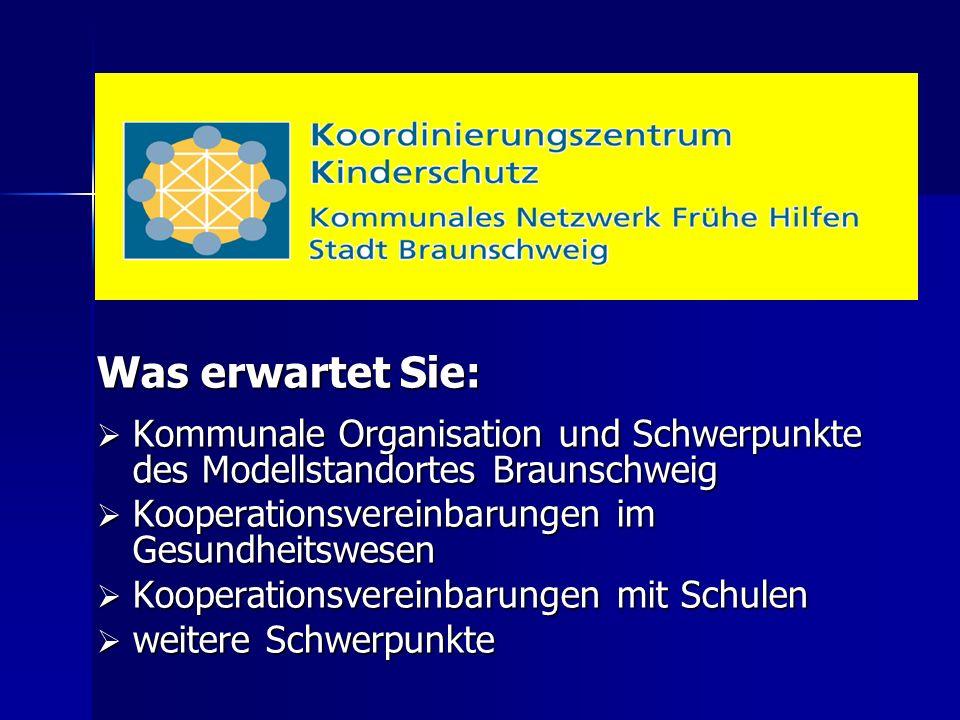 Was erwartet Sie:  Kommunale Organisation und Schwerpunkte des Modellstandortes Braunschweig  Kooperationsvereinbarungen im Gesundheitswesen  Kooperationsvereinbarungen mit Schulen  weitere Schwerpunkte