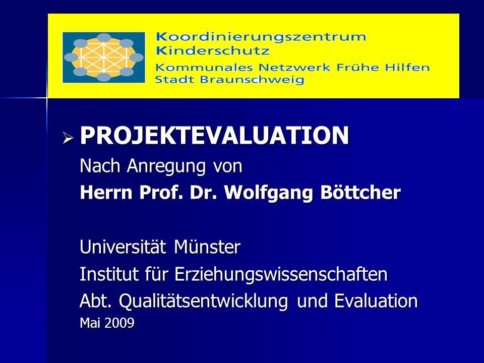  PROJEKTEVALUATION Nach Anregung von Herrn Prof. Dr. Wolfgang Böttcher Universität Münster Institut für Erziehungswissenschaften Abt. Qualitätsentwic