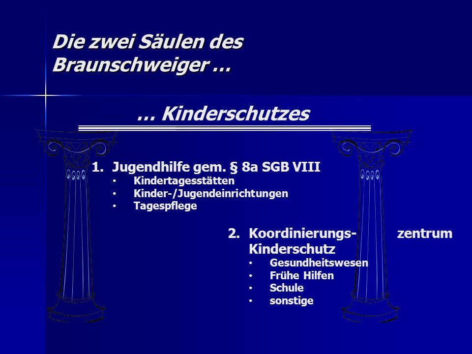 Die zwei Säulen des Braunschweiger … … Kinderschutzes 1.Jugendhilfe gem. § 8a SGB VIII Kindertagesstätten Kinder-/Jugendeinrichtungen Tagespflege 2.Ko