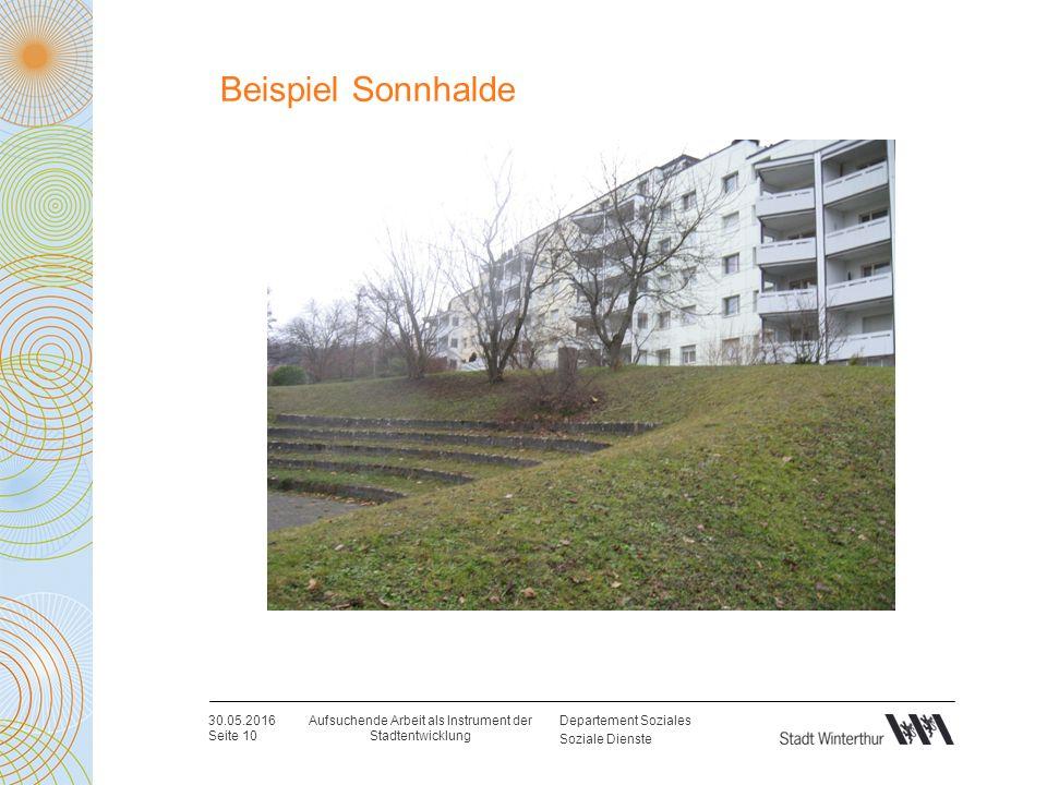 Departement Soziales Soziale Dienste Beispiel Sonnhalde 30.05.2016 Seite 10 Aufsuchende Arbeit als Instrument der Stadtentwicklung