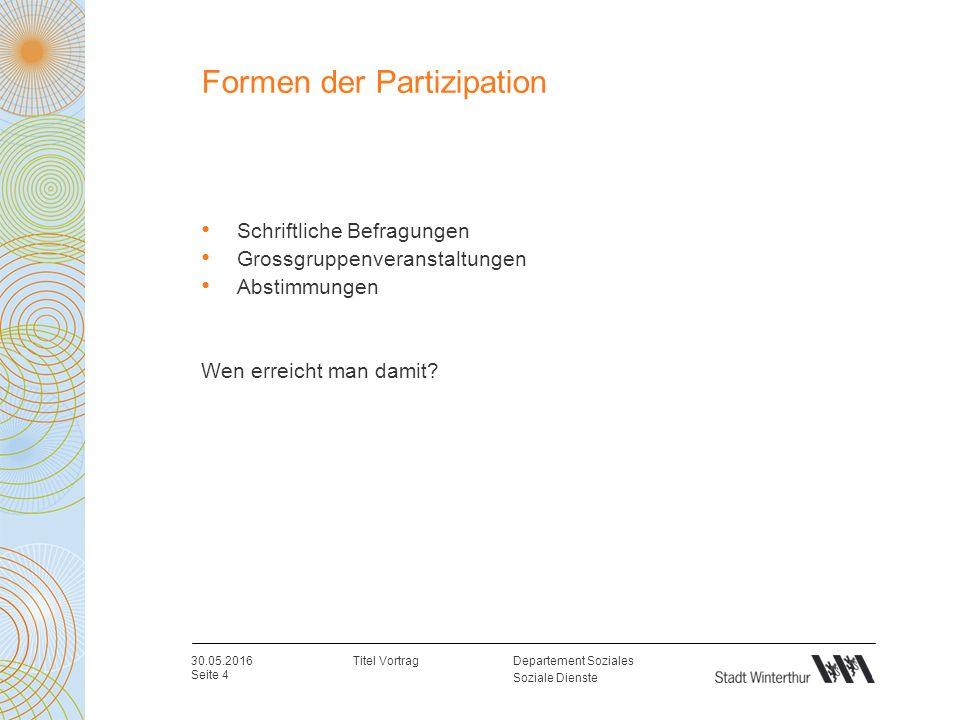 Departement Soziales Soziale Dienste Formen der Partizipation Schriftliche Befragungen Grossgruppenveranstaltungen Abstimmungen Wen erreicht man damit.