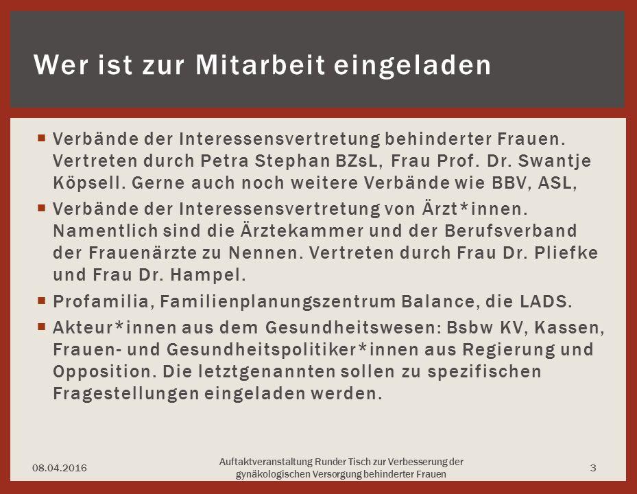  Verbände der Interessensvertretung behinderter Frauen.