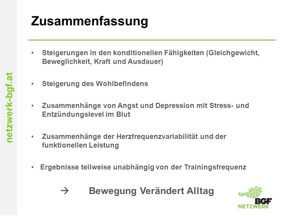 netzwerk-bgf.at Zusammenfassung Steigerungen in den konditionellen Fähigkeiten (Gleichgewicht, Beweglichkeit, Kraft und Ausdauer) Steigerung des Wohlb
