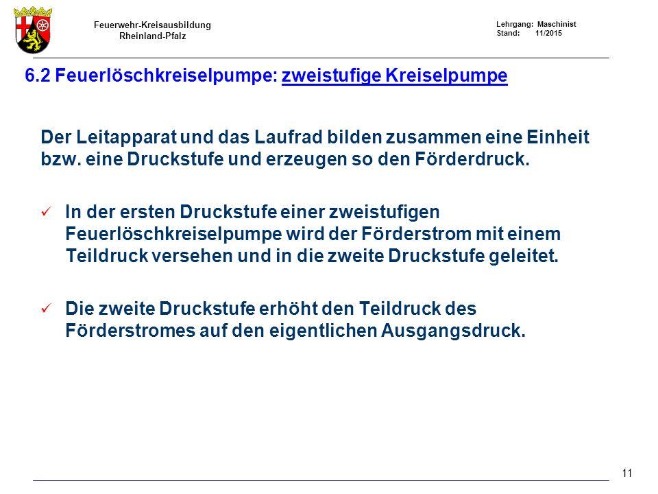 Feuerwehr-Kreisausbildung Rheinland-Pfalz Lehrgang: Maschinist Stand: 11/2015 Der Leitapparat und das Laufrad bilden zusammen eine Einheit bzw. eine D