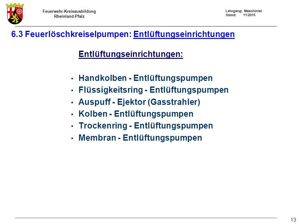 Feuerwehr-Kreisausbildung Rheinland-Pfalz Lehrgang: Maschinist Stand: 11/2015 6.3 Feuerlöschkreiselpumpen: Entlüftungseinrichtungen Entlüftungseinrich