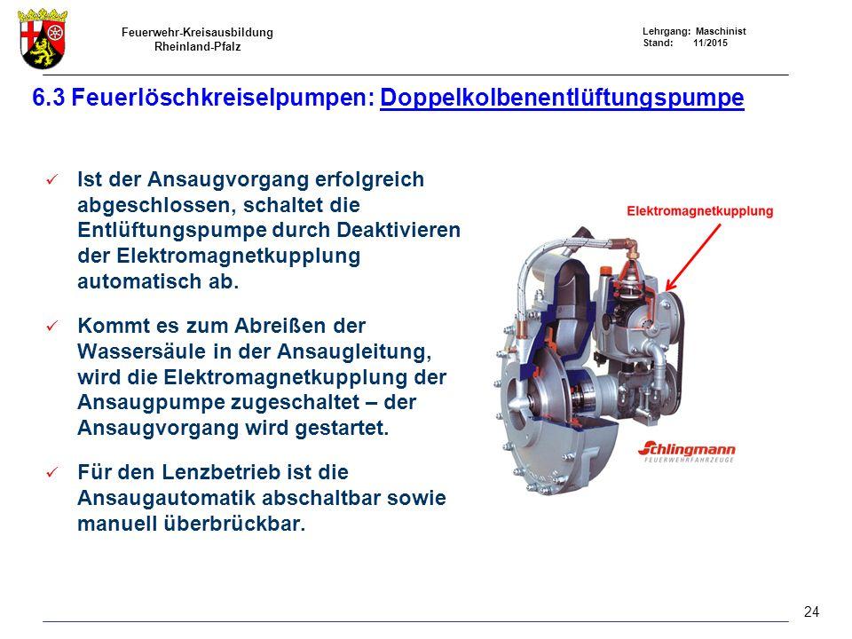 Feuerwehr-Kreisausbildung Rheinland-Pfalz Lehrgang: Maschinist Stand: 11/2015 6.3 Feuerlöschkreiselpumpen: Doppelkolbenentlüftungspumpe Ist der Ansaug