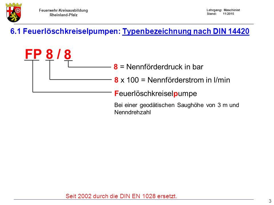 Feuerwehr-Kreisausbildung Rheinland-Pfalz Lehrgang: Maschinist Stand: 11/2015 6.1 Feuerlöschkreiselpumpe: Typenbezeichnung nach DIN EN 1028 4