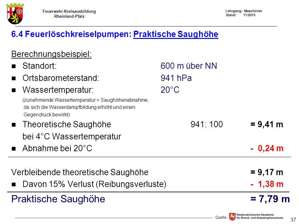 Feuerwehr-Kreisausbildung Rheinland-Pfalz Lehrgang: Maschinist Stand: 11/2015 6.4 Feuerlöschkreiselpumpen: Praktische Saughöhe Berechnungsbeispiel: St