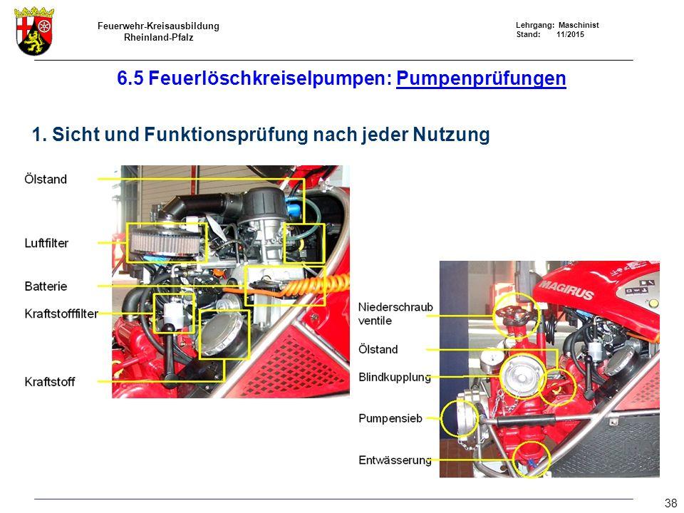 Feuerwehr-Kreisausbildung Rheinland-Pfalz Lehrgang: Maschinist Stand: 11/2015 6.5 Feuerlöschkreiselpumpen: Pumpenprüfungen 1. Sicht und Funktionsprüfu