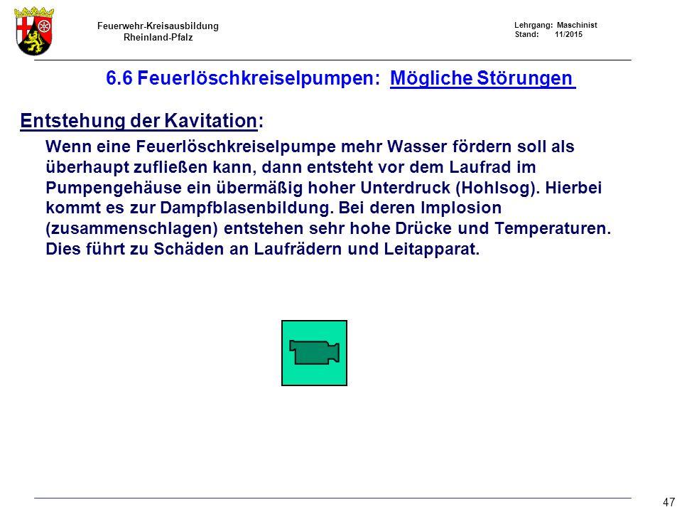 Feuerwehr-Kreisausbildung Rheinland-Pfalz Lehrgang: Maschinist Stand: 11/2015 6.6 Feuerlöschkreiselpumpen: Mögliche Störungen Entstehung der Kavitatio