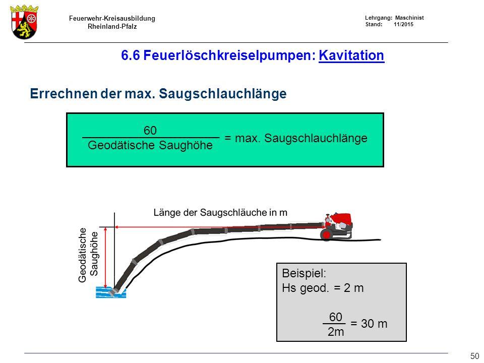 Feuerwehr-Kreisausbildung Rheinland-Pfalz Lehrgang: Maschinist Stand: 11/2015 6.6 Feuerlöschkreiselpumpen: Kavitation Errechnen der max. Saugschlauchl
