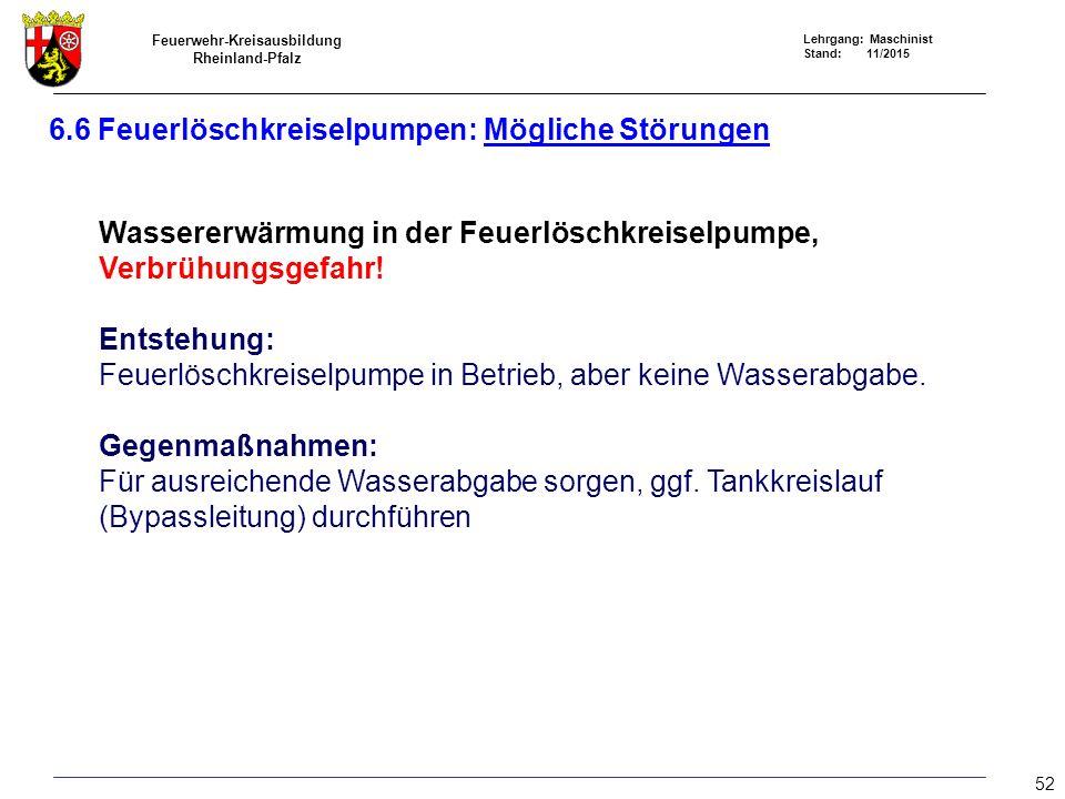 Feuerwehr-Kreisausbildung Rheinland-Pfalz Lehrgang: Maschinist Stand: 11/2015 Wassererwärmung in der Feuerlöschkreiselpumpe, Verbrühungsgefahr! Entste