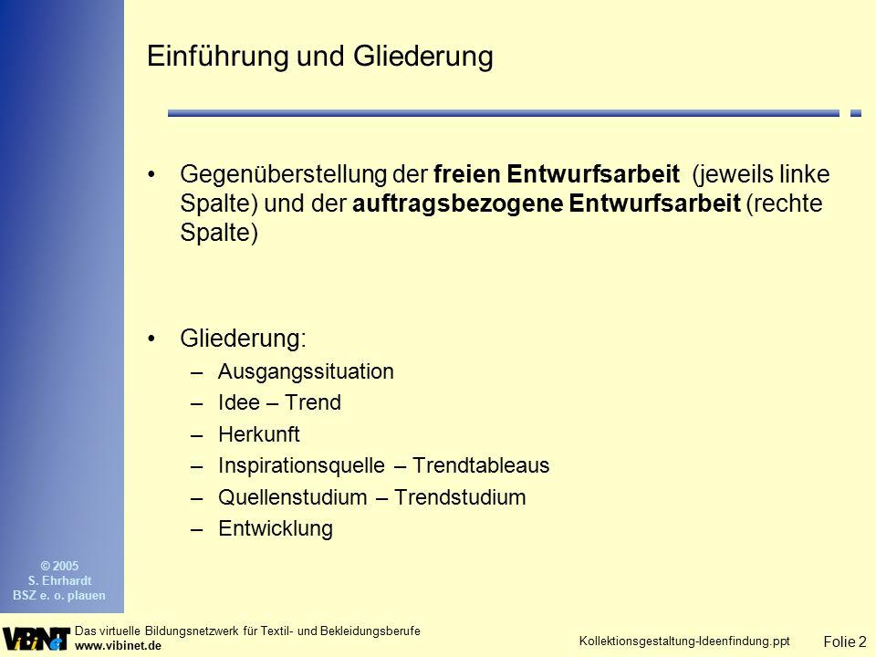 Folie 2 Das virtuelle Bildungsnetzwerk für Textil- und Bekleidungsberufe www.vibinet.de © 2005 S. Ehrhardt BSZ e. o. plauen Kollektionsgestaltung-Idee