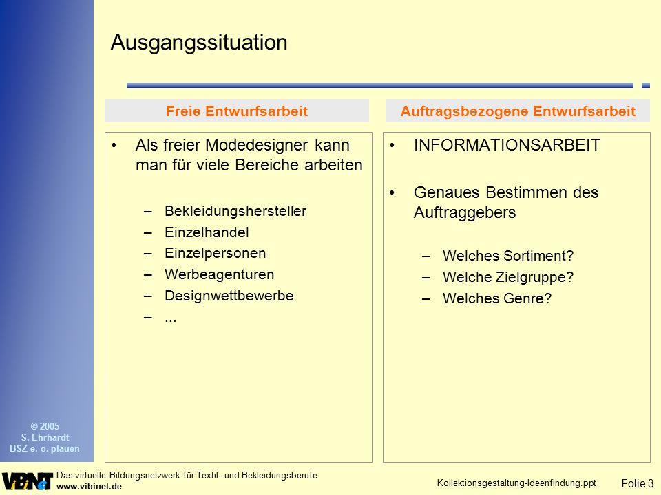 Folie 3 Das virtuelle Bildungsnetzwerk für Textil- und Bekleidungsberufe www.vibinet.de © 2005 S. Ehrhardt BSZ e. o. plauen Kollektionsgestaltung-Idee