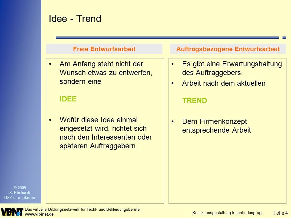 Folie 4 Das virtuelle Bildungsnetzwerk für Textil- und Bekleidungsberufe www.vibinet.de © 2005 S. Ehrhardt BSZ e. o. plauen Kollektionsgestaltung-Idee