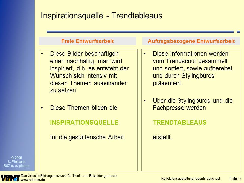 Folie 7 Das virtuelle Bildungsnetzwerk für Textil- und Bekleidungsberufe www.vibinet.de © 2005 S. Ehrhardt BSZ e. o. plauen Kollektionsgestaltung-Idee
