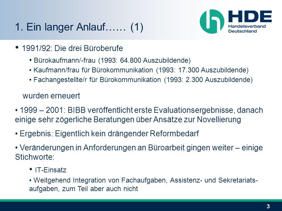 3 1991/92: Die drei Büroberufe Bürokaufmann/-frau (1993: 64.800 Auszubildende) Kaufmann/frau für Bürokommunikation (1993: 17.300 Auszubildende) Fachangestellte/r für Bürokommunikation (1993: 2.300 Auszubildende) wurden erneuert 1999 – 2001: BIBB veröffentlicht erste Evaluationsergebnisse, danach einige sehr zögerliche Beratungen über Ansätze zur Novellierung Ergebnis: Eigentlich kein drängender Reformbedarf Veränderungen in Anforderungen an Büroarbeit gingen weiter – einige Stichworte: IT-Einsatz Weitgehend Integration von Fachaufgaben, Assistenz- und Sekretariats- aufgaben, zum Teil aber auch nicht 1.