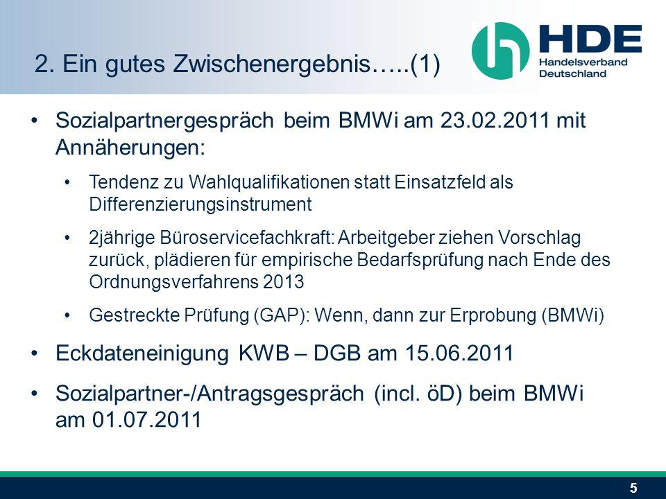 5 Sozialpartnergespräch beim BMWi am 23.02.2011 mit Annäherungen: Tendenz zu Wahlqualifikationen statt Einsatzfeld als Differenzierungsinstrument 2jäh