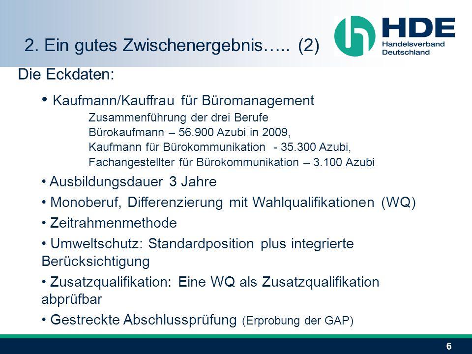 6 Die Eckdaten: Kaufmann/Kauffrau für Büromanagement Zusammenführung der drei Berufe Bürokaufmann – 56.900 Azubi in 2009, Kaufmann für Bürokommunikati