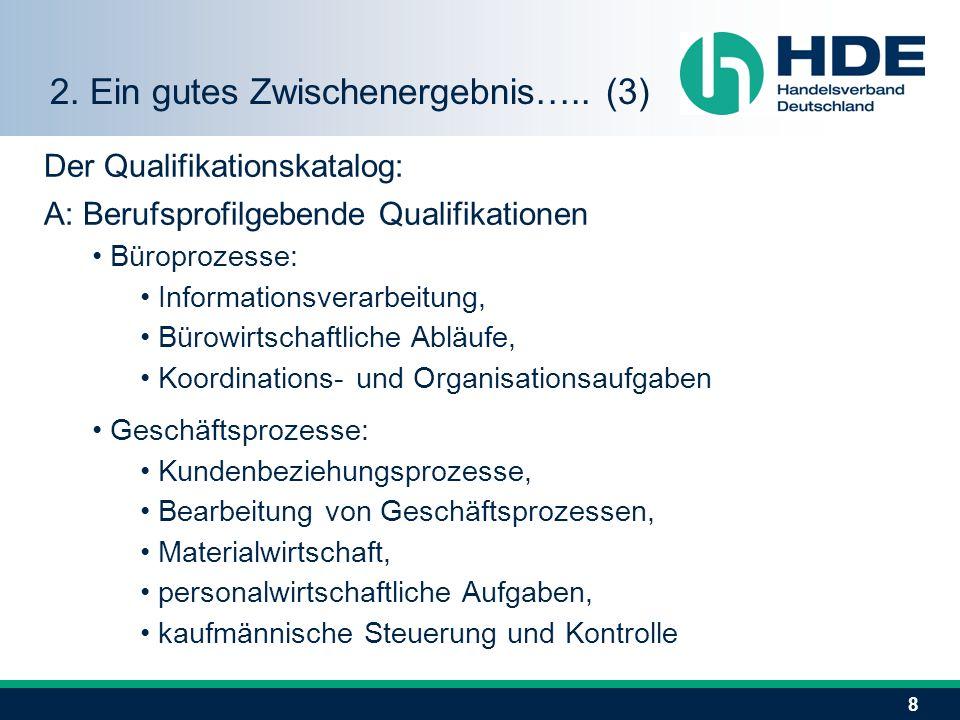 8 Der Qualifikationskatalog: A: Berufsprofilgebende Qualifikationen Büroprozesse: Informationsverarbeitung, Bürowirtschaftliche Abläufe, Koordinations