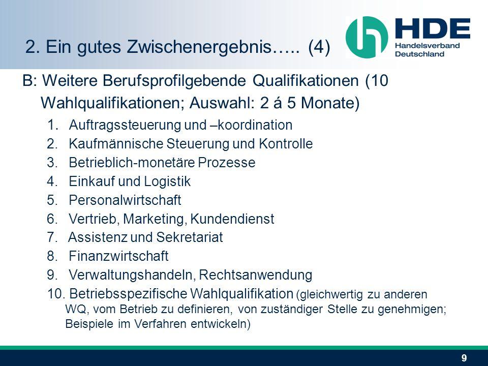 9 B: Weitere Berufsprofilgebende Qualifikationen (10 Wahlqualifikationen; Auswahl: 2 á 5 Monate) 1. Auftragssteuerung und –koordination 2. Kaufmännisc