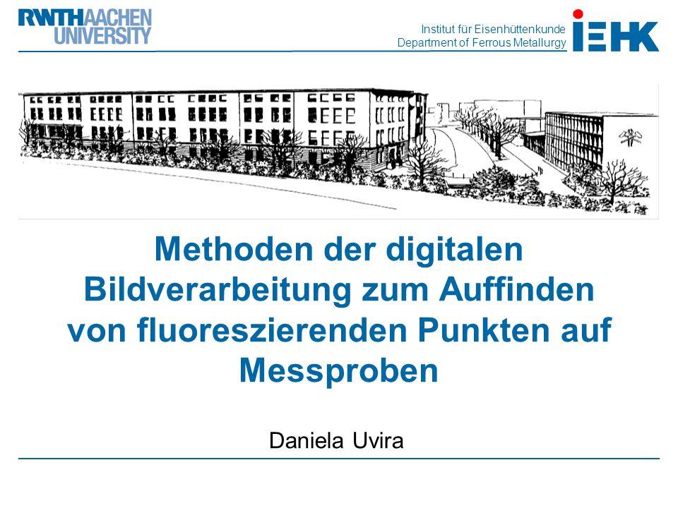 Institut für Eisenhüttenkunde Department of Ferrous Metallurgy Methoden der digitalen Bildverarbeitung zum Auffinden von fluoreszierenden Punkten auf Messproben Daniela Uvira