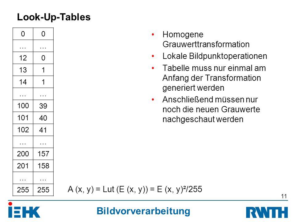 Bildvorverarbeitung 00 …… 120 131 141 …… 100 39 101 40 102 41 …… 200 157 201 158 …… 255 Homogene Grauwerttransformation Lokale Bildpunktoperationen Tabelle muss nur einmal am Anfang der Transformation generiert werden Anschließend müssen nur noch die neuen Grauwerte nachgeschaut werden 11 Look-Up-Tables A (x, y) = Lut (E (x, y)) = E (x, y)²/255