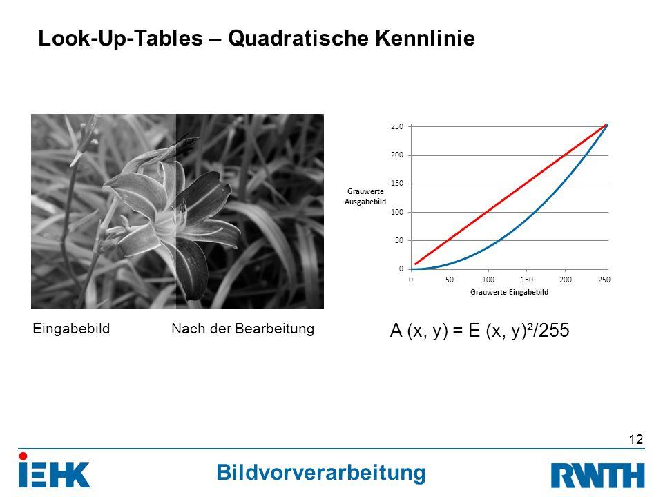 Bildvorverarbeitung 12 Look-Up-Tables – Quadratische Kennlinie A (x, y) = E (x, y)²/255 EingabebildNach der Bearbeitung