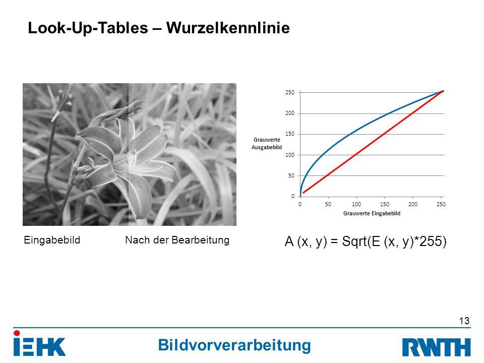 Bildvorverarbeitung 13 Look-Up-Tables – Wurzelkennlinie A (x, y) = Sqrt(E (x, y)*255) EingabebildNach der Bearbeitung