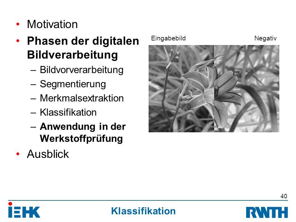 Klassifikation Motivation Phasen der digitalen Bildverarbeitung –Bildvorverarbeitung –Segmentierung –Merkmalsextraktion –Klassifikation –Anwendung in der Werkstoffprüfung Ausblick 40 EingabebildNegativ
