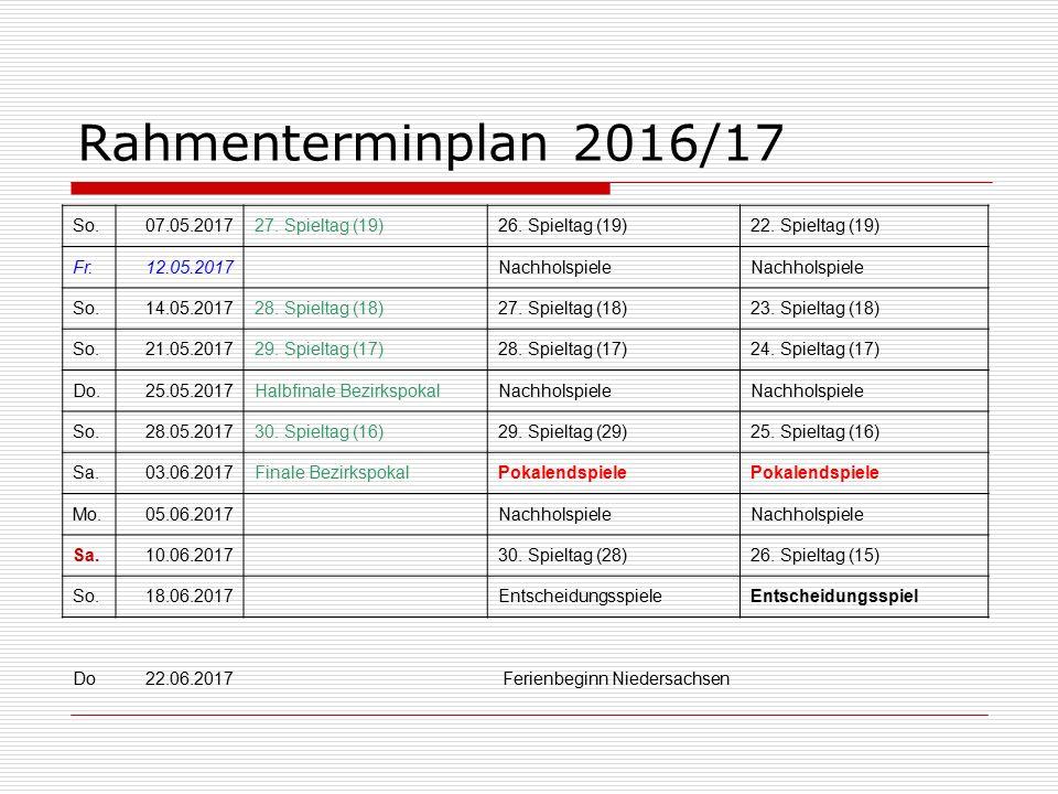 Rahmenterminplan 2016/17 So.07.05.201727. Spieltag (19)26.