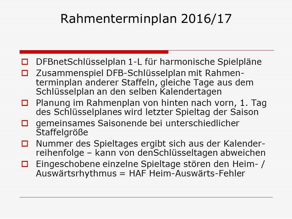 Rahmenterminplan 2016/17  DFBnetSchlüsselplan 1-L für harmonische Spielpläne  Zusammenspiel DFB-Schlüsselplan mit Rahmen- terminplan anderer Staffeln, gleiche Tage aus dem Schlüsselplan an den selben Kalendertagen  Planung im Rahmenplan von hinten nach vorn, 1.