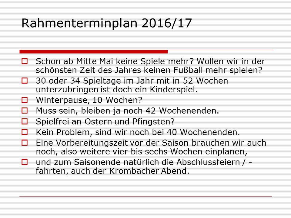 Rahmenterminplan 2016/17  Schon ab Mitte Mai keine Spiele mehr.
