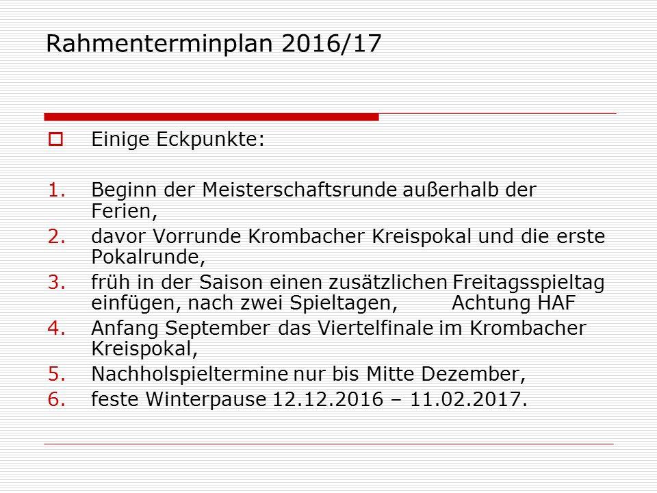 Rahmenterminplan 2016/17 Datum16er Plan Bezirk (SYS)16er Plan Kreis (SYS)14er Plan Kreis (SYS) So.24.07.2016 Vorrunde Pokal So.31.07.20161.
