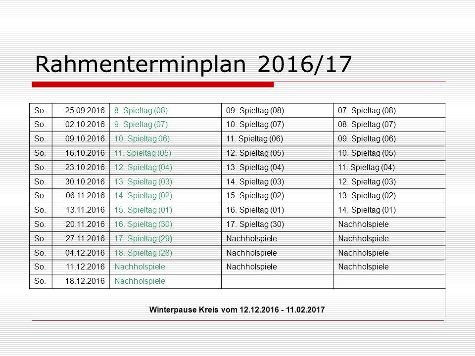 Rahmenterminplan 2016/17 So.25.09.20168. Spieltag (08)09.