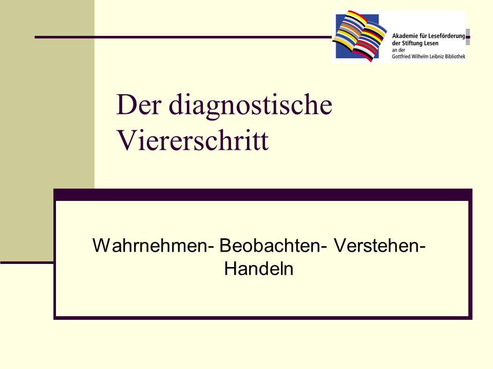 Der diagnostische Viererschritt Wahrnehmen- Beobachten- Verstehen- Handeln