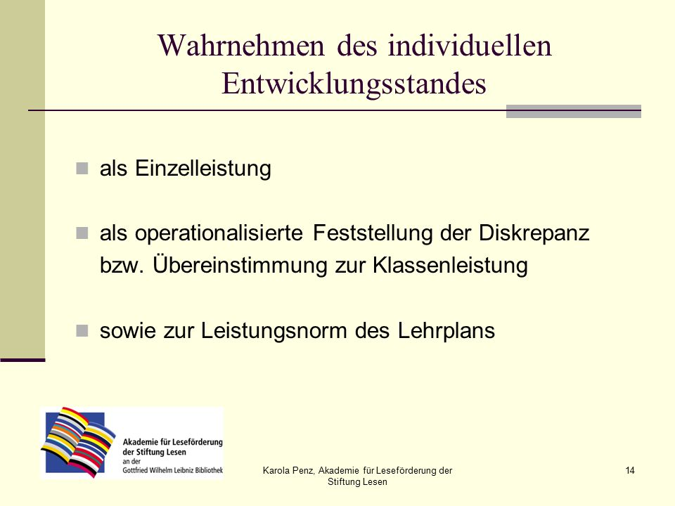 Karola Penz, Akademie für Leseförderung der Stiftung Lesen 14 Wahrnehmen des individuellen Entwicklungsstandes als Einzelleistung als operationalisierte Feststellung der Diskrepanz bzw.