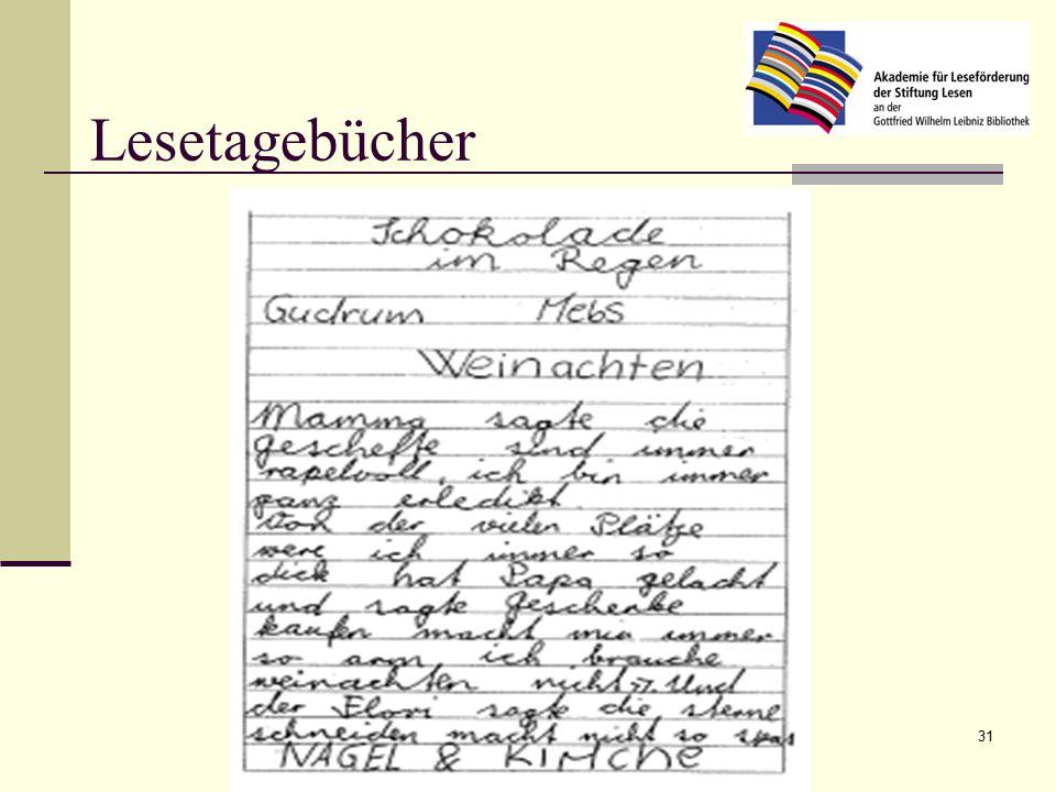 Karola Penz, Akademie für Leseförderung der Stiftung Lesen 31 Lesetagebücher