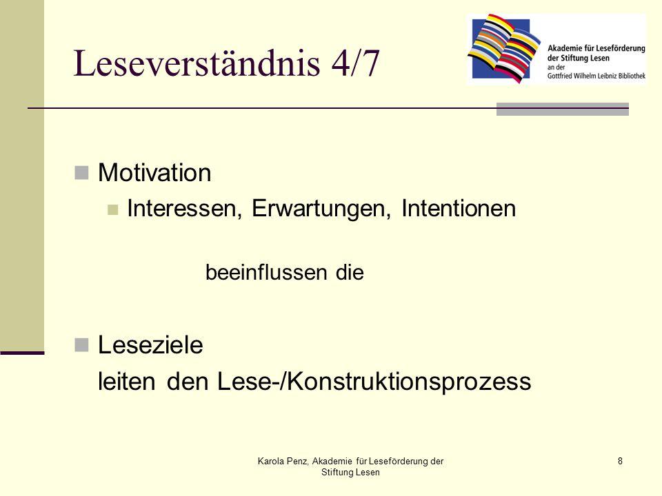Karola Penz, Akademie für Leseförderung der Stiftung Lesen 8 Leseverständnis 4/7 Motivation Interessen, Erwartungen, Intentionen beeinflussen die Leseziele leiten den Lese-/Konstruktionsprozess