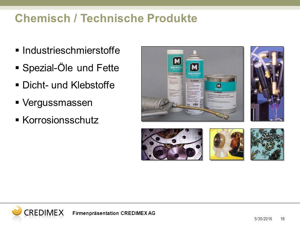 5/30/201618 Firmenpräsentation CREDIMEX AG  Industrieschmierstoffe  Spezial-Öle und Fette  Dicht- und Klebstoffe  Vergussmassen  Korrosionsschutz Chemisch / Technische Produkte
