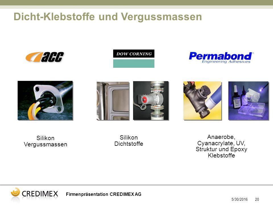 5/30/201620 Anaerobe, Cyanacrylate, UV, Struktur und Epoxy Klebstoffe Silikon Dichtstoffe Silikon Vergussmassen Dicht-Klebstoffe und Vergussmassen Firmenpräsentation CREDIMEX AG
