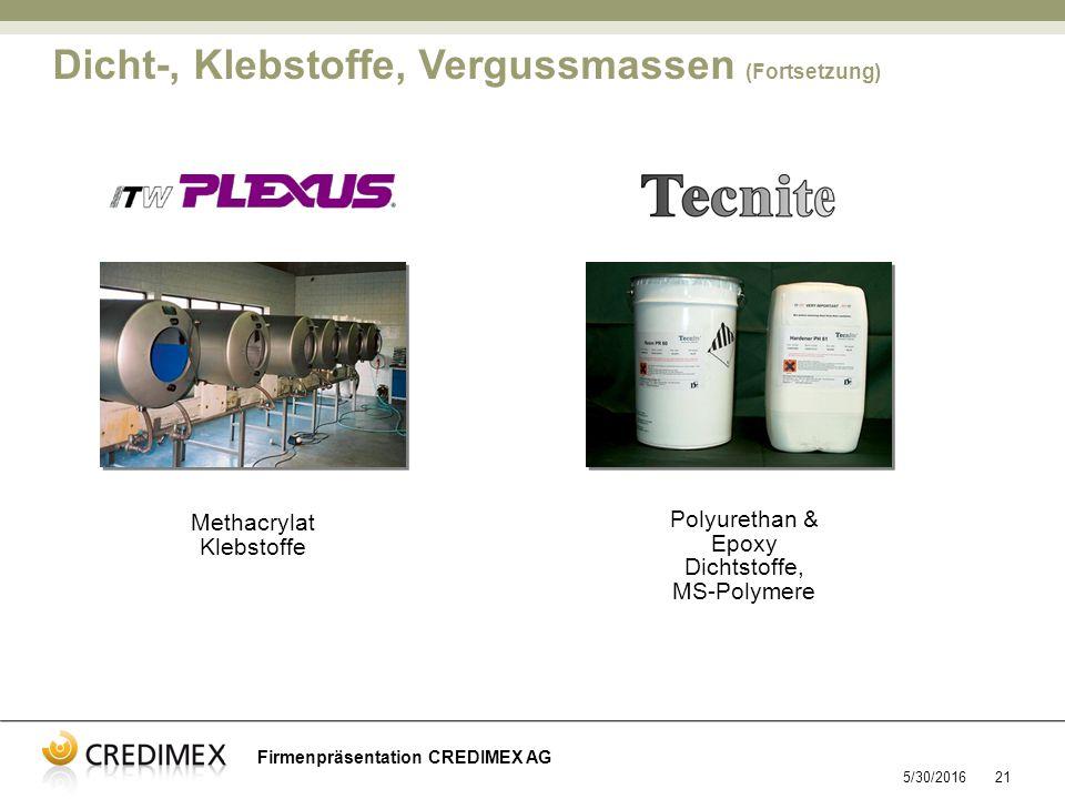5/30/201621 Methacrylat Klebstoffe Polyurethan & Epoxy Dichtstoffe, MS-Polymere Dicht-, Klebstoffe, Vergussmassen (Fortsetzung) Firmenpräsentation CREDIMEX AG