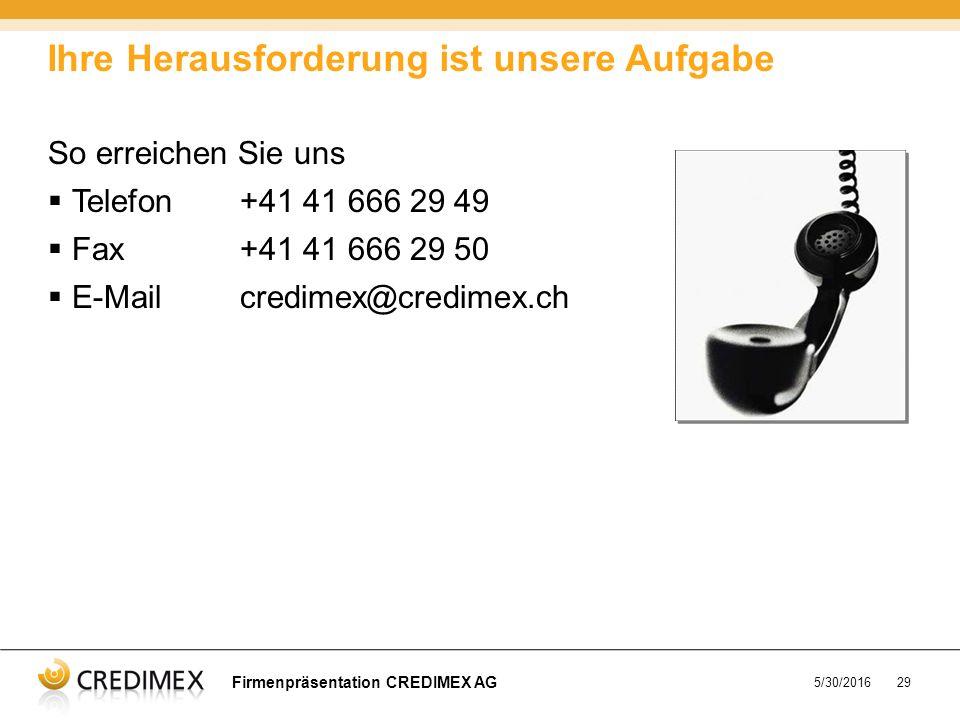 5/30/201629 So erreichen Sie uns  Telefon+41 41 666 29 49  Fax+41 41 666 29 50  E-Mailcredimex@credimex.ch Ihre Herausforderung ist unsere Aufgabe Firmenpräsentation CREDIMEX AG