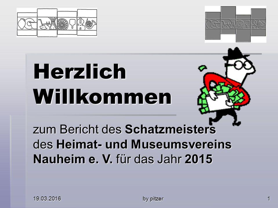 19.03.2016 by pitzer 1 Herzlich Willkommen zum Bericht des Schatzmeisters des Heimat- und Museumsvereins Nauheim e.