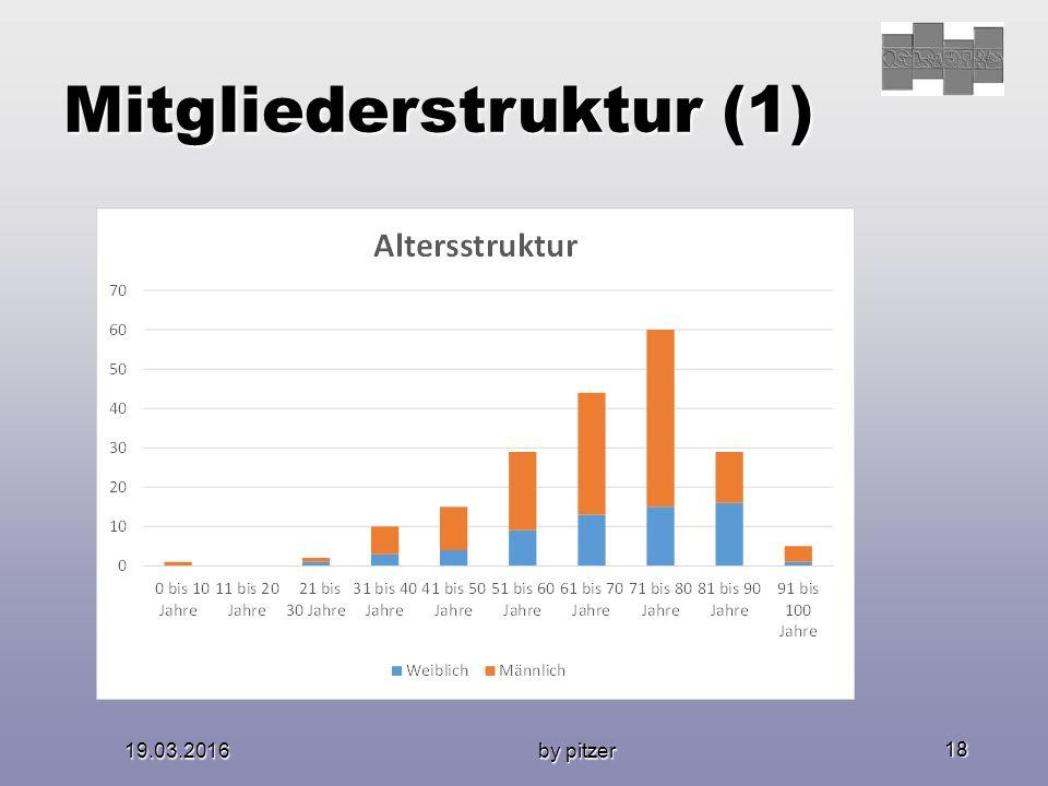 19.03.2016 by pitzer 18 Mitgliederstruktur (1) Altersstruktur