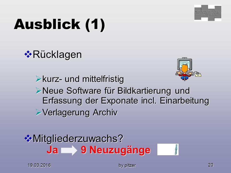 19.03.2016 by pitzer 20 Ausblick (1)  Rücklagen  kurz- und mittelfristig  Neue Software für Bildkartierung und Erfassung der Exponate incl.