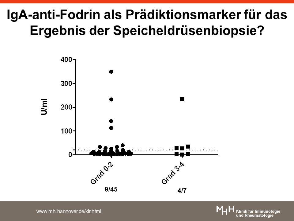 Klinik für Immunologie und Rheumatologie www.mh-hannover.de/kir.html IgA-anti-Fodrin als Prädiktionsmarker für das Ergebnis der Speicheldrüsenbiopsie?