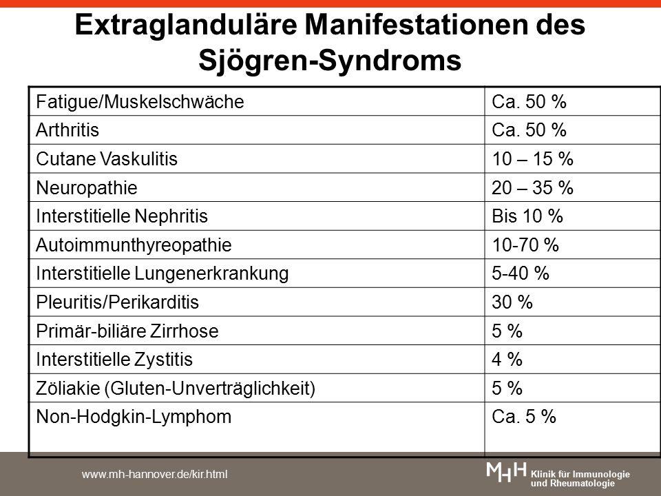 Klinik für Immunologie und Rheumatologie www.mh-hannover.de/kir.html Extraglanduläre Manifestationen des Sjögren-Syndroms Fatigue/MuskelschwächeCa. 50